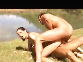 Nice Threesome Mmf Outdoor Fuck